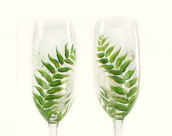 CRYSTAL Wedding Toast Flutes, Set of 2 - Hand-Painted Lush Green Ferns, Personalized - Outdoor Wedding Woodland Toasting Glasses