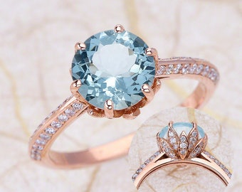 Engagement Ring with Round Cut Aquamarine in 14K Rose Gold