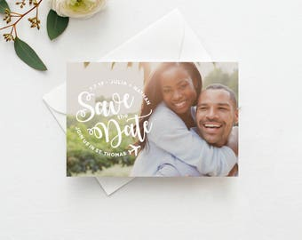 Airplane Photo Save the Date Postcard / Magnet / Flat Card - Destination Save the Date, Photo Wedding Magnet, Destination Wedding
