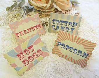 Vintage Carnival Circus Party Buffet Food Table Tents - Customized - Set of 8 - Circus Birthday Vintage Style