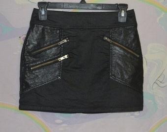 Vintage 90s Black Mini Skirt Pleather Accents Lots of Zippers Punk Goth Biker