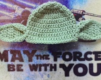 Yoda Star Wars Crochet Hat--Newborn, 0-3 Months, 3-6 Months, 6-12 Months Photography Prop= MADE TO ORDER