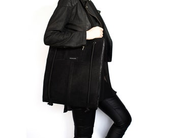 Recycled repurposed genuine leather tote bag laptop bag shoulder bag nappa backpack adjustable rope
