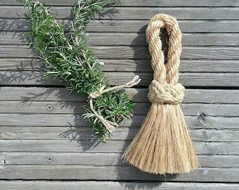 Rustic Natural Rope Brush, Wedding Whisk Broom, Handmade Deck Swab. Scandi Home Decor. Country Cottage Style. Modern Rustic.