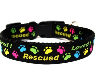 """Rescued Dog Collar 1"""" Colorful Dog Collar"""