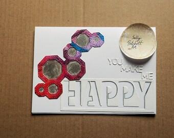You Make Me Happy Greeting Card, Handmade Card, Blank Card, Handmade Greeting Card