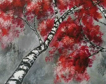 Red and Silver Tree acrylic painting canvas art original colorful home decor wall art gift for any occasion nature lover