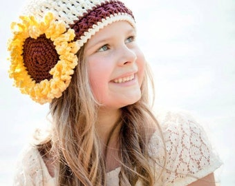 Crochet Pattern for Sunflower Beanie Hat - 5 sizes, baby to adult - Welcome to sell finished items