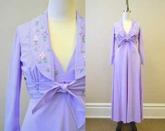 1970s Purple Floral Embroidered Halter Maxi Dress and Jacket