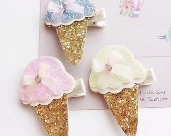 Ice Cream Cone hair clips l Hair Clip | children's hair clips