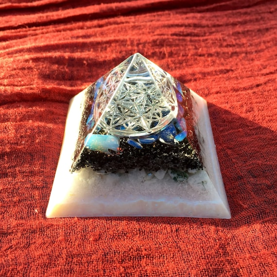 Sacred Geometry Orgone Pyramid- Opalite Orgone Pyramid- Male/Female Balancing Energy for Grounding- Harmony & Connection to Higher Self