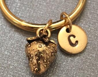 Strawberry keychain, strawberry charm, food keychain, personalized keychain, initial keychain, initial charm, customized, monogram