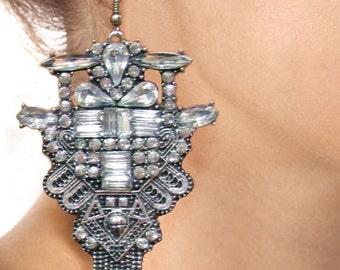 Art Deco Antique Silver Earrings Statement Earrings Dangle Earrings Clear Crystal Rhinestones Large Jewelry Hollywood Evening Flapper Gatsby