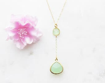 Y Necklace, Gold Lariat Necklace, Mothers Day Gift, Green Necklace, Wedding Gift, Bridesmaid Necklace, Gift for Best Friend, Boho Necklace