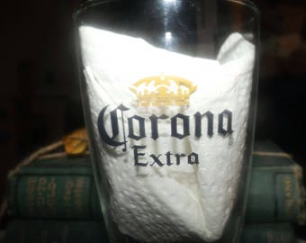 Vintage Corona Extra half-pint beer glass.  Etched-glass logo and type.