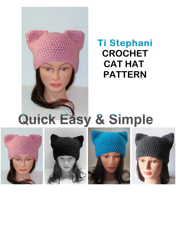 CAT HAT PATTERN Simple Crochet Pattern Kitty Cat Hats Cat