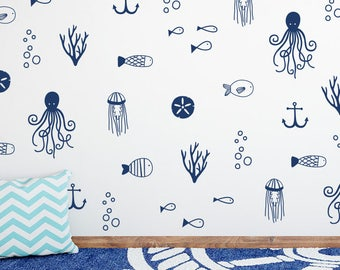 Sea Life Wall Decals - Nautical Decals Nursery Decals Ocean Decals Cute Nautical  sc 1 st  Etsy & Mermaids and Sea Creatures Wall Decals Mermaids Nursery