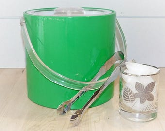 Vintage Georges Briard Ice Bucket-Ice Bucket-Mid-Century-Green-Bright green-Georges Briard-lucite-vinyl ice bucket-barware-free shipping