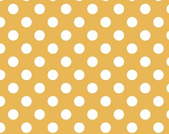 Mustard Yellow Polka Dot Fabric - Riley Blake Medium Dot - Yellow and White Dot Fabric