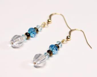 Delicate Aqua Crystal and Clear Cut Glass Dangle Earrings