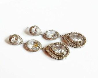 Wedding Earrings - Long Teardrop Bridal Earrings - Bridesmaid Gift - Wedding Jewelry - Cubic Zirconia
