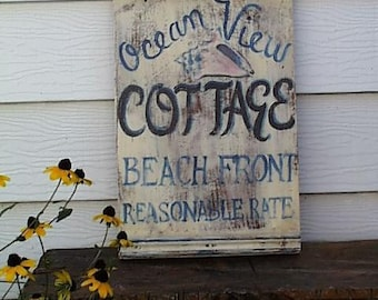 Ocean View Cottage Sign--Customizable