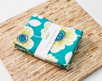 Large Cloth Napkins - Set of 4 - (N3319) - Aqua Teal Flower Modern Reusable Fabric Napkins