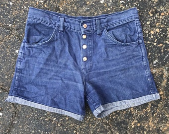 Button fly blue faded shorts vintage denim jeans mens womens 1990s 90s 1980s 80s cuff no back pockets