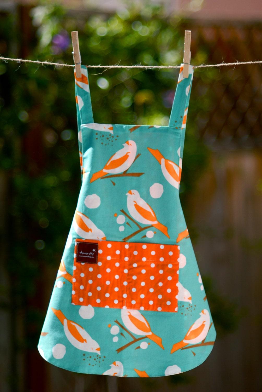 Apron with Pockets- Bird Apron - Organic Cotton Apron - Reversible ...