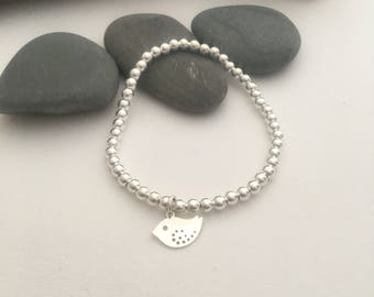 Sterling silver beaded bracelet with silver bird charm - silver bracelet - silver charm bracelet - 4mm sterling silver beads