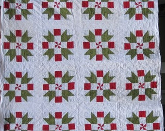 """Antique Full Size Quilt. """"Sister's Choice"""" Vintage Double Bed Quilt,Red and Green Handmade & Hand Quilted C.1860's, Antique Patchwork #17797"""