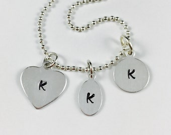 Add On Initial Tag - Hand Stamped - Oval or Round - Add on to order only