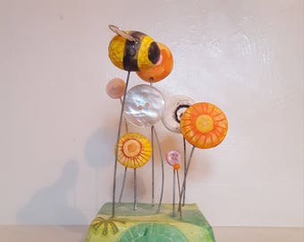 Bee and Flowers Sculpture