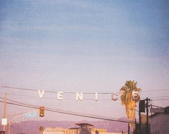 Venice Photography, Venice Beach Sign, Los Angeles Wall Art, Large Wall Print, Blue Wall Decor, Pink Wall Art, City Photography, Urban Art