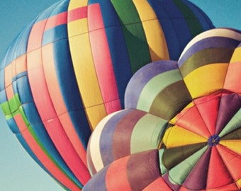hot air balloon photography / air travel, flight, stripes, colorful, blue sky, fly, transportation / up close / 8x8 fine art photograph