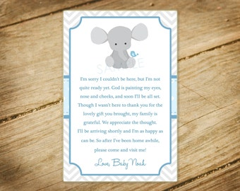 Little Peanut / Elephant Themed Baby Shower / Matching Thank You Card