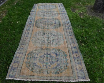 Vintage Runner Area Rug 3.8 x 10.1 feet Turkish Runner Rug Oushak Runner Rug Boho Runner Area Rug Decor Free Shipping Floor Rug DC624