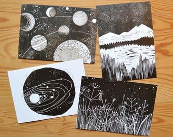 "Postcard set of 4 ""stars and planets"""