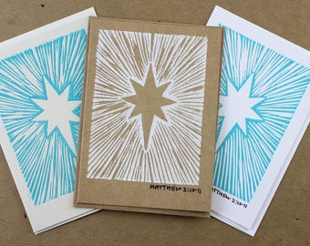 Christmas Star Card, Block Printed