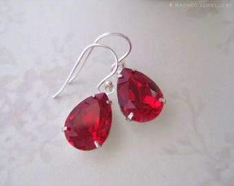 Mia - Ruby Red Siam Crystal Earrings - Red bridesmaid earrings- Created with crystals from Swarovski®