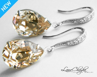 Champagne Crystal Earrings Bridesmaid Teardrop Rhinestone Earrings Swarovski Light Silk Earrings Champagne Silver Earrings Weddings
