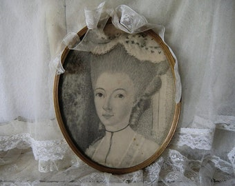 Portrait of a Rococo lady in a simple frame boudoir bohemian French shabby chic