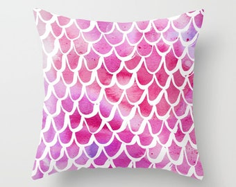 Mermaid Throw Pillow . Watercolor Pillow . Mermaid Cushion . Pink Pillow . Mermaid Tail Pillow . Pink Watercolor Cushion 14 16 18 20 inch