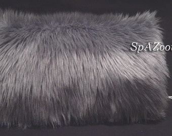 Silver fur muff gray faux fur hand muff bridal wedding hand warmer - feathery faux fur