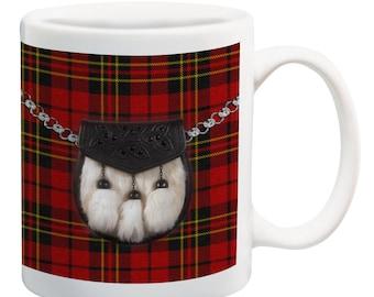 Red tartan sporran scottish coffee mug tea cup