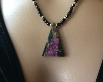 Serpentine In Stichite Pendant Necklace, Serpentine And Faceted Onyx Necklace, Hill Tribe Silver