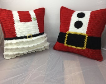 Mr and Mrs Claus Crochet Pillow Crochet Tutorial - Pillow Pattern - Crochet Cushion - Christmas Decor - Instant download PDF