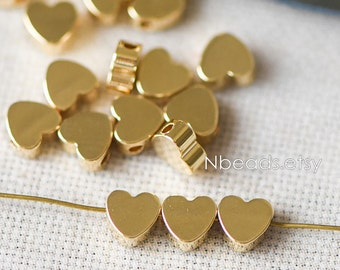 10pcs Real Gold plated Brass Heart Beads 6mm, Lead Nickel Free (GB-015)