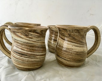 Stoneware Mugs, Set of 4 Mugs, Agateware Mugs, Coffee Mugs, Ceramic Mugs