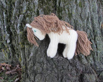 Knit Wool Toy Horse, Waldorf Pony - white and tan natural stuffed animal